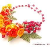 Осеннее колье с розами и калиной Калиновая осень