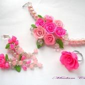 Комплек украшений с жемчугом Восточная роза Лориданна