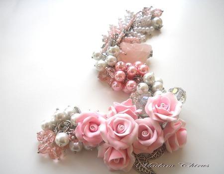 Браслет с жемчугом  Зефирно - розовая мечта ручной работы на заказ
