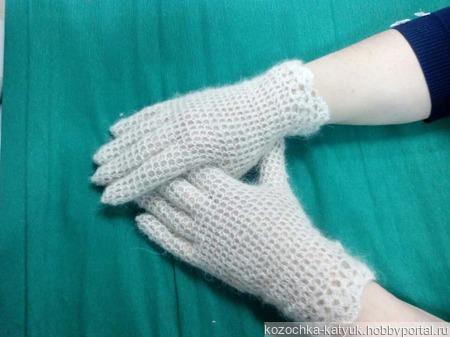 Перчатки ажурные Урюпинский козий пух ручной работы на заказ