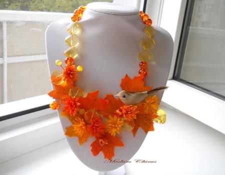 Необычное украшение из полимерной глины. Осень ручной работы на заказ
