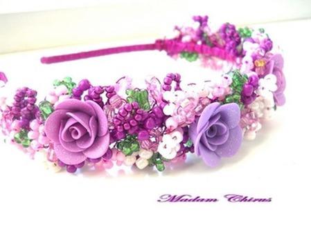 Нарядные обручи с жемчугом и розами ( разные цвета) ручной работы на заказ