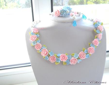 Свадебный комплект Лазурно – розовая симфония чувств ручной работы на заказ