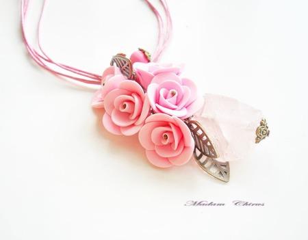 Комплект с розовым кварцем Фантазия ручной работы на заказ