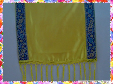 """Желтый палантин ручной работы из ткани """"Лимонный мусс"""" ручной работы на заказ"""