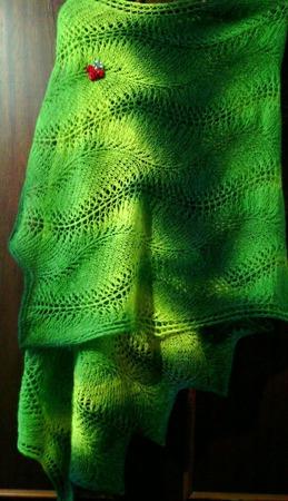 Палантин из кауни  Green-yellow 800 ручной работы на заказ