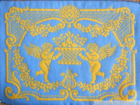 """Подушка декоративная с ангелами """"Дом - полная чаша"""" ручной работы на заказ"""