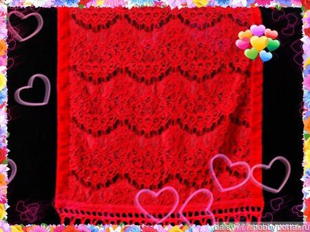 """Красный кружевной палантин ручной работы """"Алая заря"""" модель 1 ручной работы на заказ"""