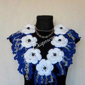 Вязаный воротник в стиле бохо, вязаное колье, бусы, шарф, украшение.