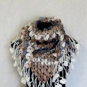 Шаль бактус крючком, вязаная шаль, вязаный бактус, шейный платок, шарф