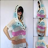 Туника-сетка с капюшоном, летняя вязаная кофта с коротким рукавом