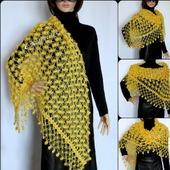 Вязаная шаль, шаль из мохера, шаль ажурная крючком, жёлтая шаль
