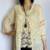 Блуза накидка в стиле бохо, летняя блуза для морского отдыха, хлопок