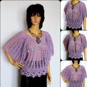 Летняя блуза крючком, ажурная кофточка на лето, блузка из хлопка