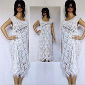 Летнее платье из хлопка, белое ажурное платье крючком, вязаное платье