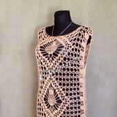 Ажурная летняя туника, пляжное макси платье крючком из хлопка