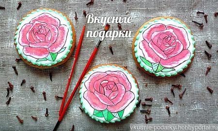 Пряник с изображением розы ручной работы на заказ
