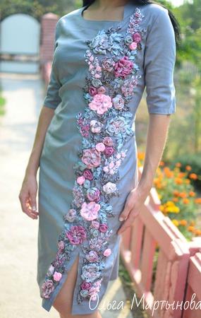 """Платье""""Серябряный цветок"""" ручной работы на заказ"""