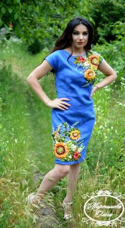 """Льяное платье""""Цветы солнца"""" ручной работы на заказ"""
