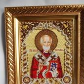 Икона Николай Чудотворец-бисером и жемчугом