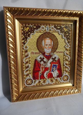 Икона Николай Чудотворец-бисером и жемчугом ручной работы на заказ