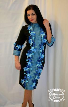"""Платье""""Синева"""" ручной работы на заказ"""