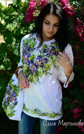 """Блуза""""Ирисы"""" ручной работы на заказ"""