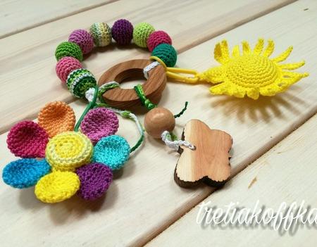 Грызунок-погремушка Цветик-семицветик ручной работы на заказ