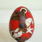Яйцо расписное деревянное Георгий Победоносец
