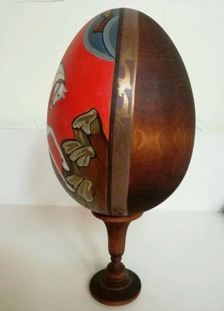 Яйцо расписное деревянное Георгий Победоносец ручной работы на заказ