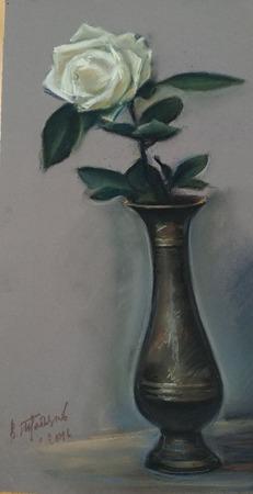 Картина с цветами пастель Белая роза ручной работы на заказ