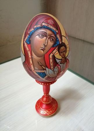 Яйцо расписное Казанская Божья матерь ручной работы на заказ