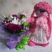 фото: Куклы и игрушки (зайка вязанный крючком используется как интерьерная кукла или для игры малышам)