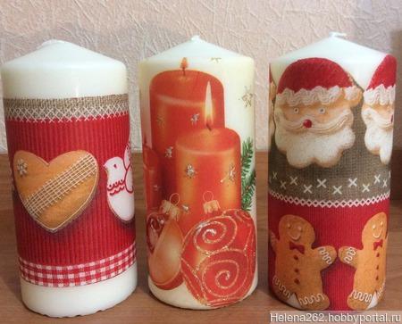 Новогодняя свеча ручной работы на заказ