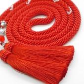 Лариат  с кистями красный  Пламя длинный из бисера
