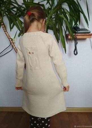 Вязанное детское платье ручной работы на заказ