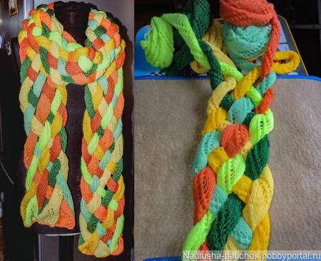 Теплый шарф, вязаный спицами,  Яркий такой ручной работы на заказ
