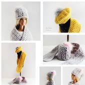 Миниатюрные вязаные шапочки и шарфики