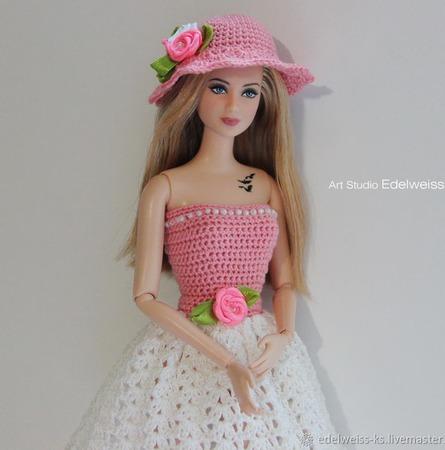 """Ажурное платье """"Кокетка"""" для Барби ручной работы на заказ"""
