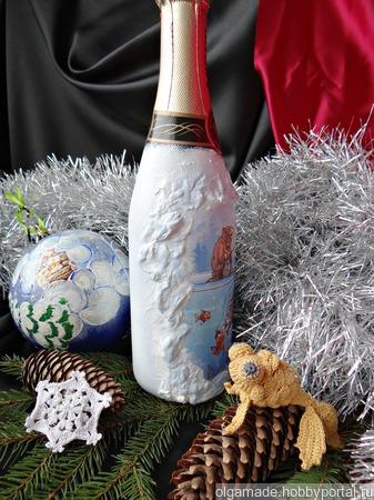 Новогодняя бутылка-подарок рыбаку ручной работы на заказ