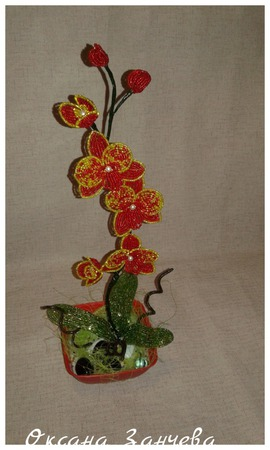 Орхидея красная ручной работы на заказ
