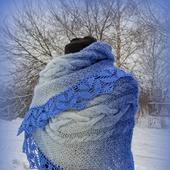 Теплый снуд, шарф снуд с кружевом, снуд вязаный, снуд из кауни
