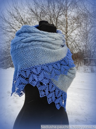 Теплый снуд, шарф снуд с кружевом, снуд вязаный, снуд из кауни ручной работы на заказ
