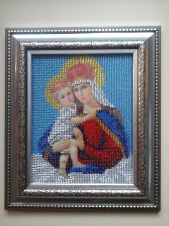 Икона-Мадонна с младенцем ручной работы на заказ