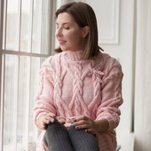 Вязаный свитер - платье ручной вязки в Москве