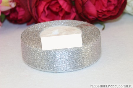 "Декоративная лента ""Парча"" 25 мм (серебро) ручной работы на заказ"