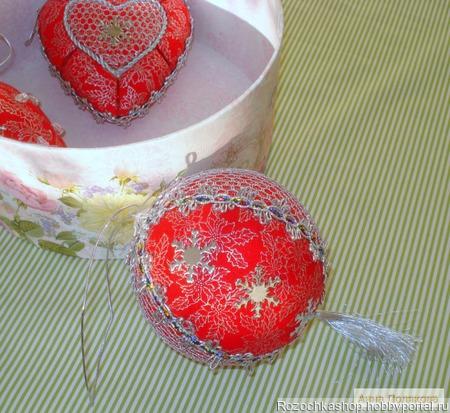 """Новогодние шарики """"Красное серебро"""" ручной работы на заказ"""
