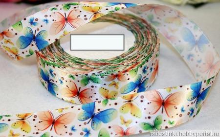 """Атласная лента """"Бабочки""""  эффект 3D, 25 мм ручной работы на заказ"""