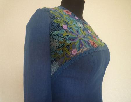 Отделка платья  ирландским кружевом ручной работы на заказ