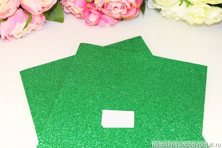 Фоамиран глиттерный цвет зеленый 2мм (20*30см) ручной работы на заказ